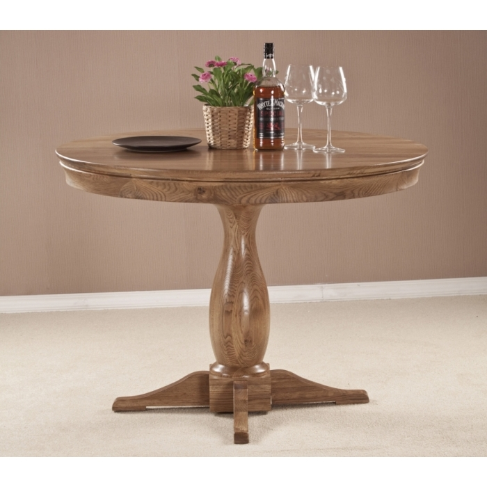 Solid french oak dining room furniture round circular dining table
