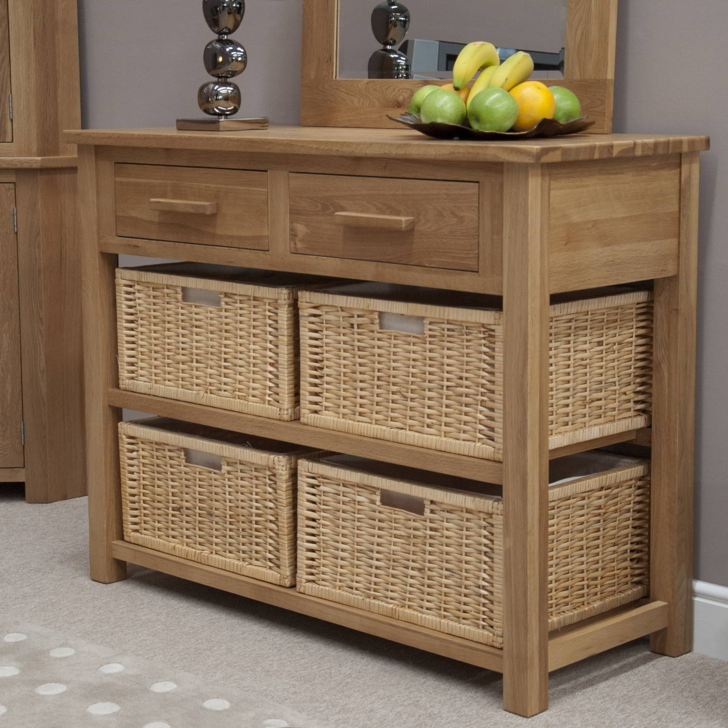 Eton solid modern oak hallway furniture basket hall Console tables with storage