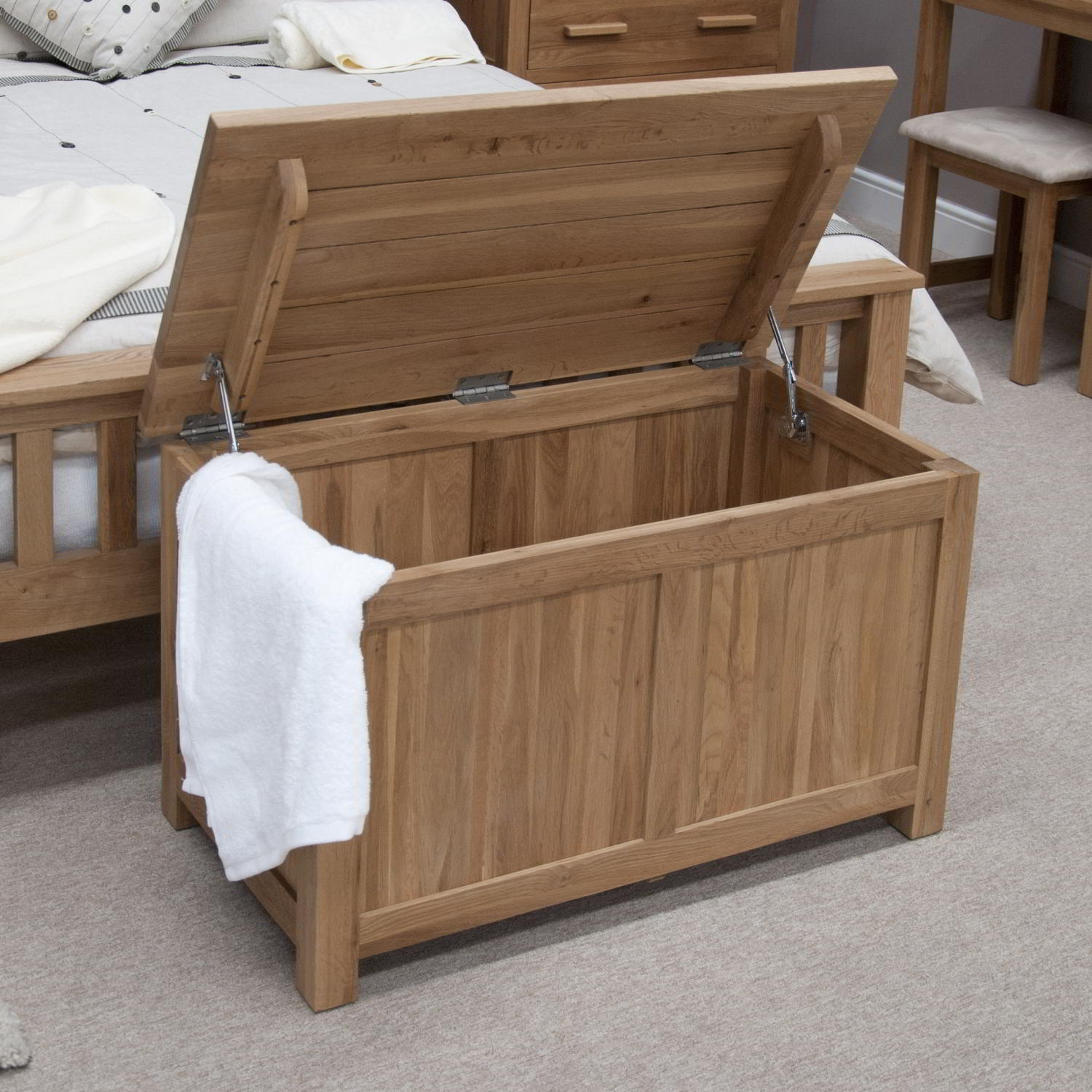 Eton solid oak bedroom furniture blanket storage box chest for Solid oak furniture