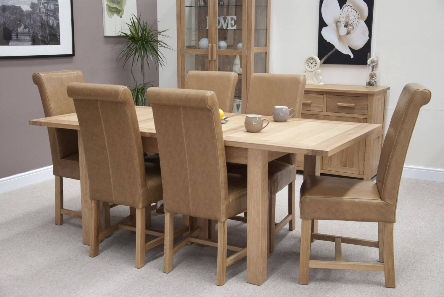 Eton Solid Oak Furniture Extending Dining Table With Six