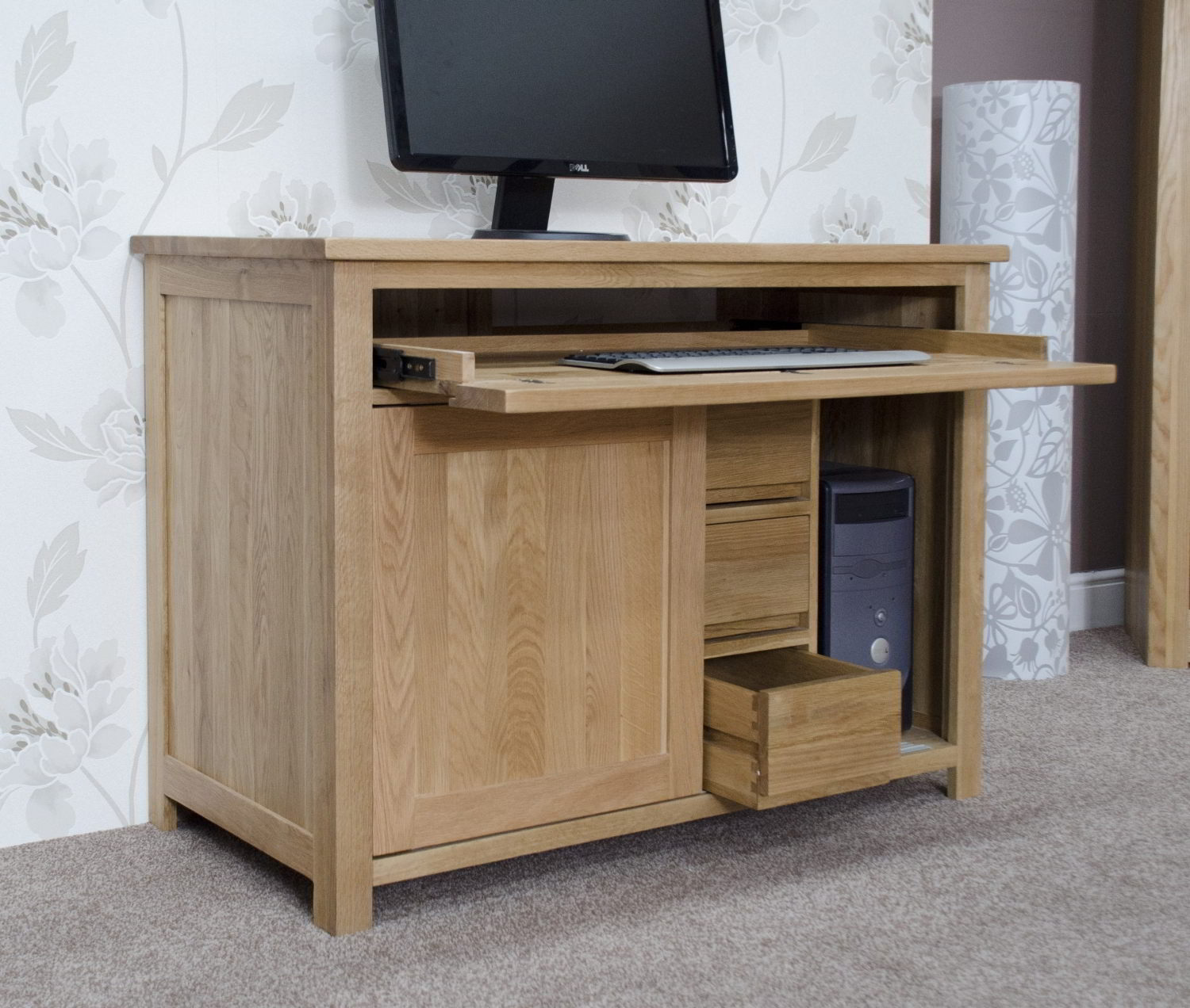 Eton solid oak furniture home office pc hideaway computer for Hideaway home office