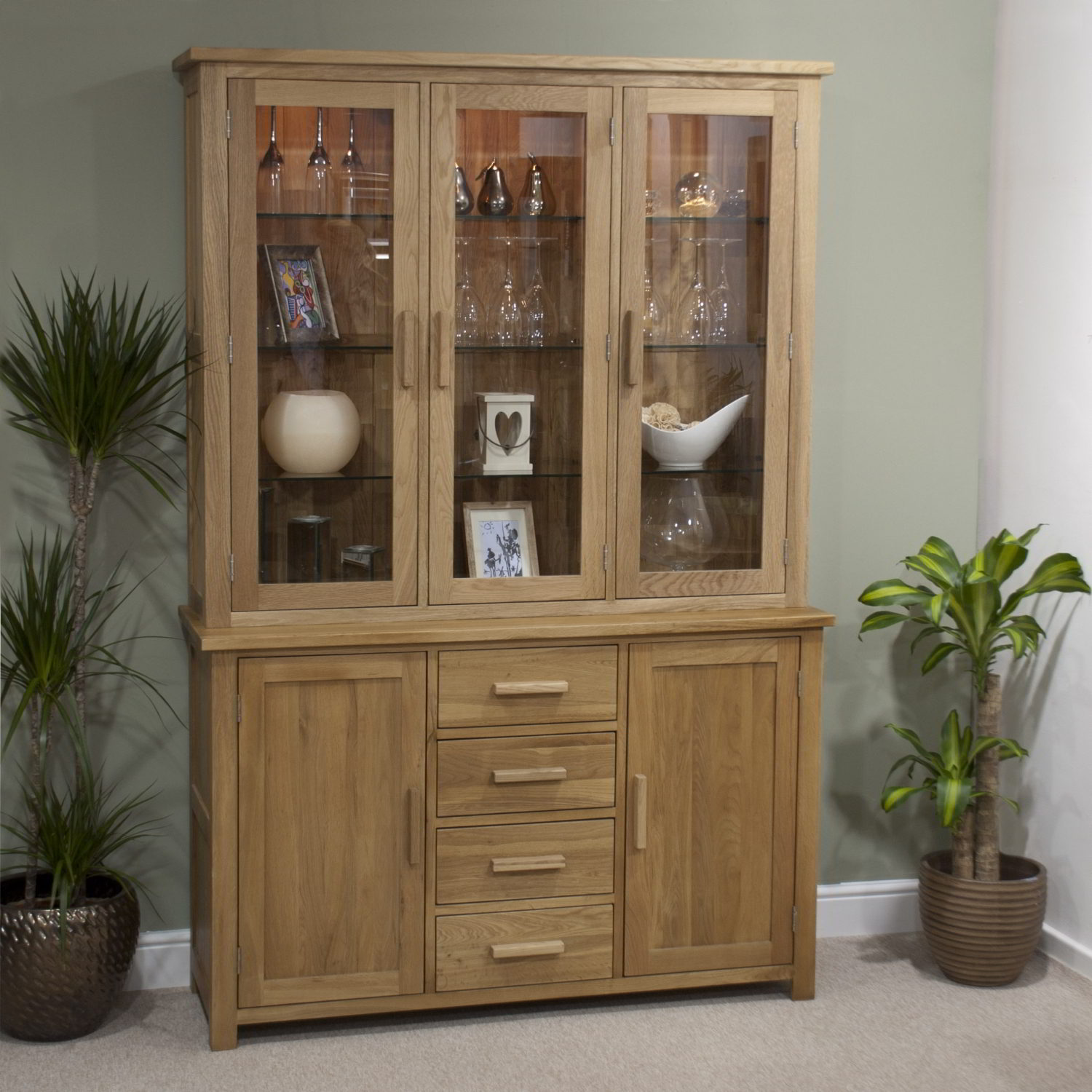 Eton solid oak furniture large glazed dresser display for Solid oak furniture