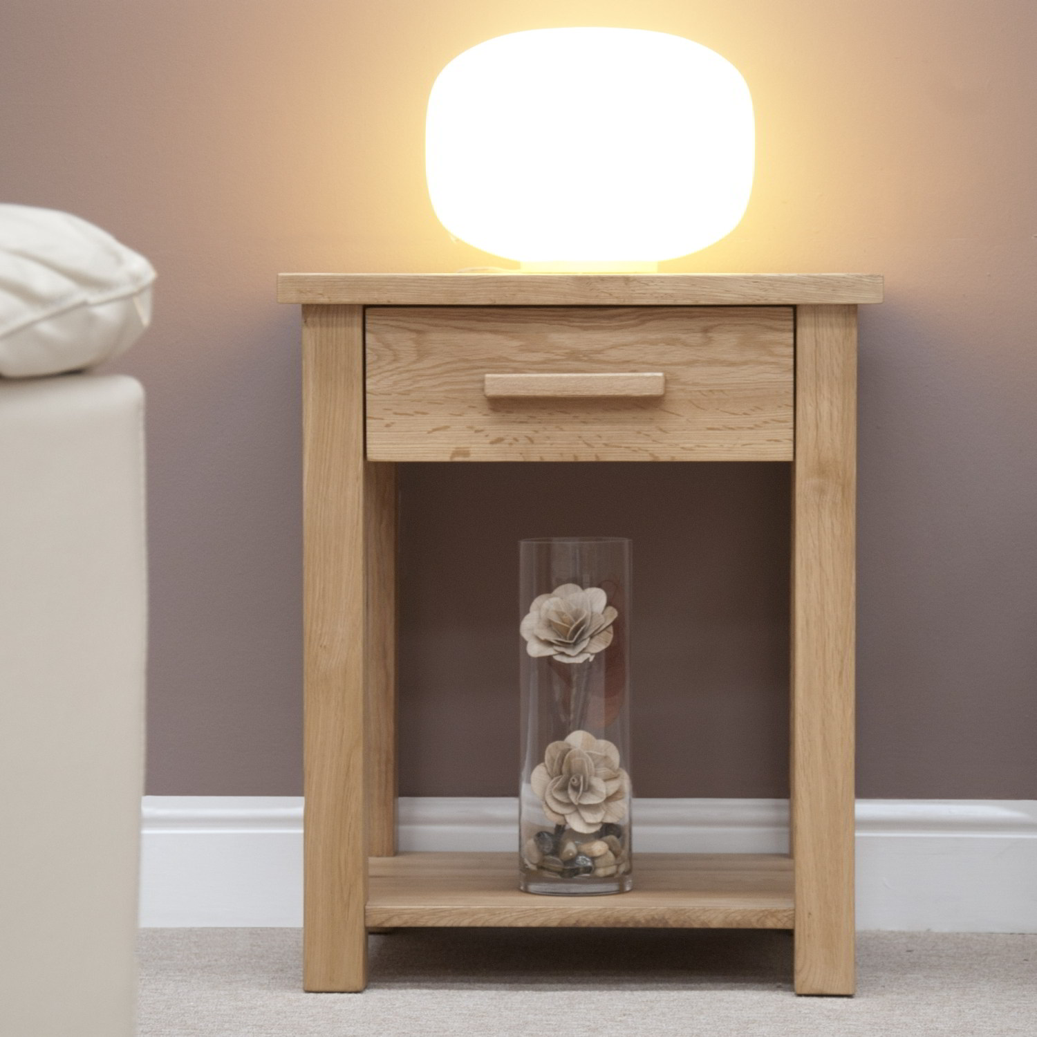 Eton solid oak contemporary furniture side end hall lamp for Side and lamp tables