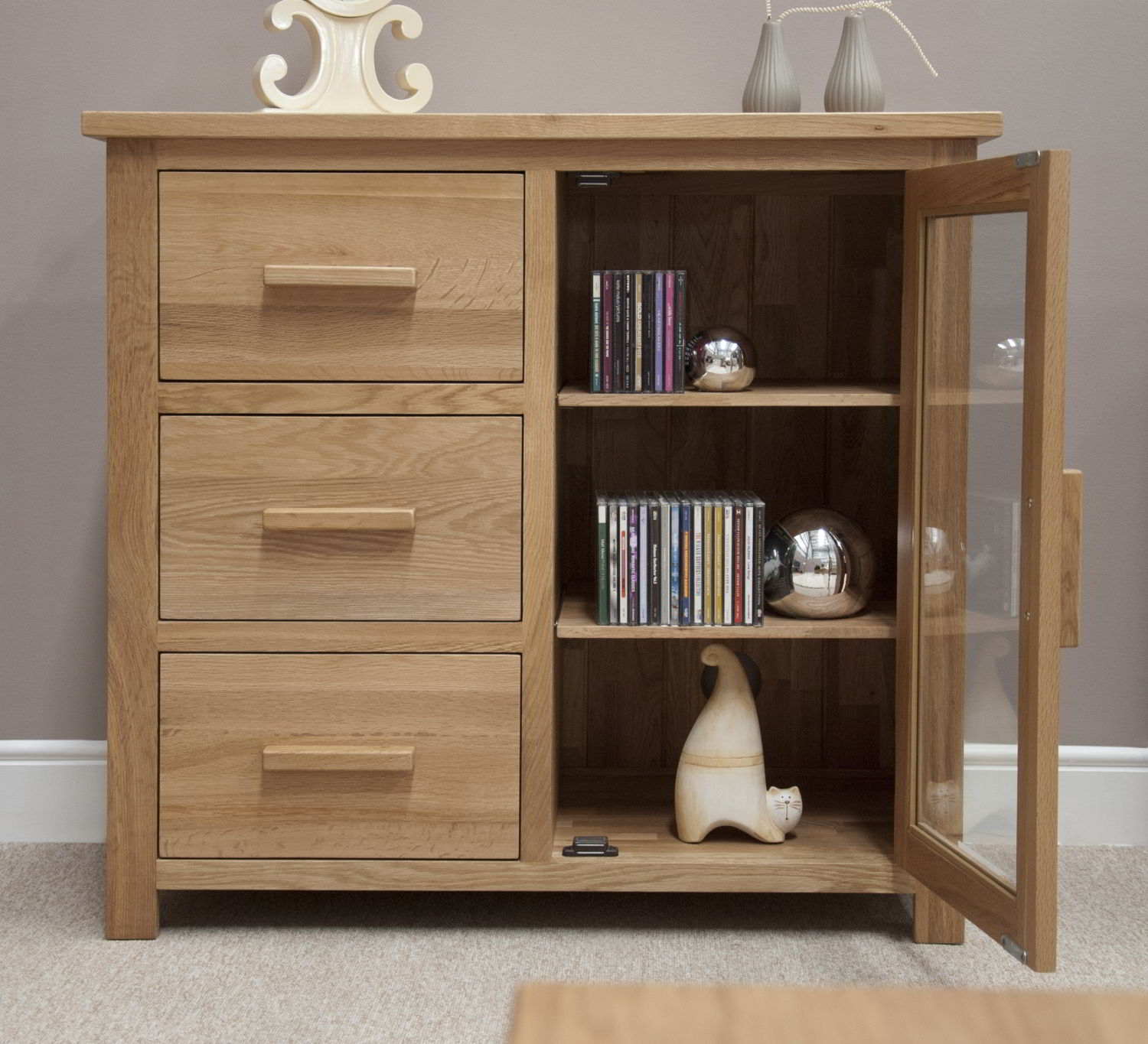 Eton solid oak furniture small glazed sideboard hi fi for Door furniture uk