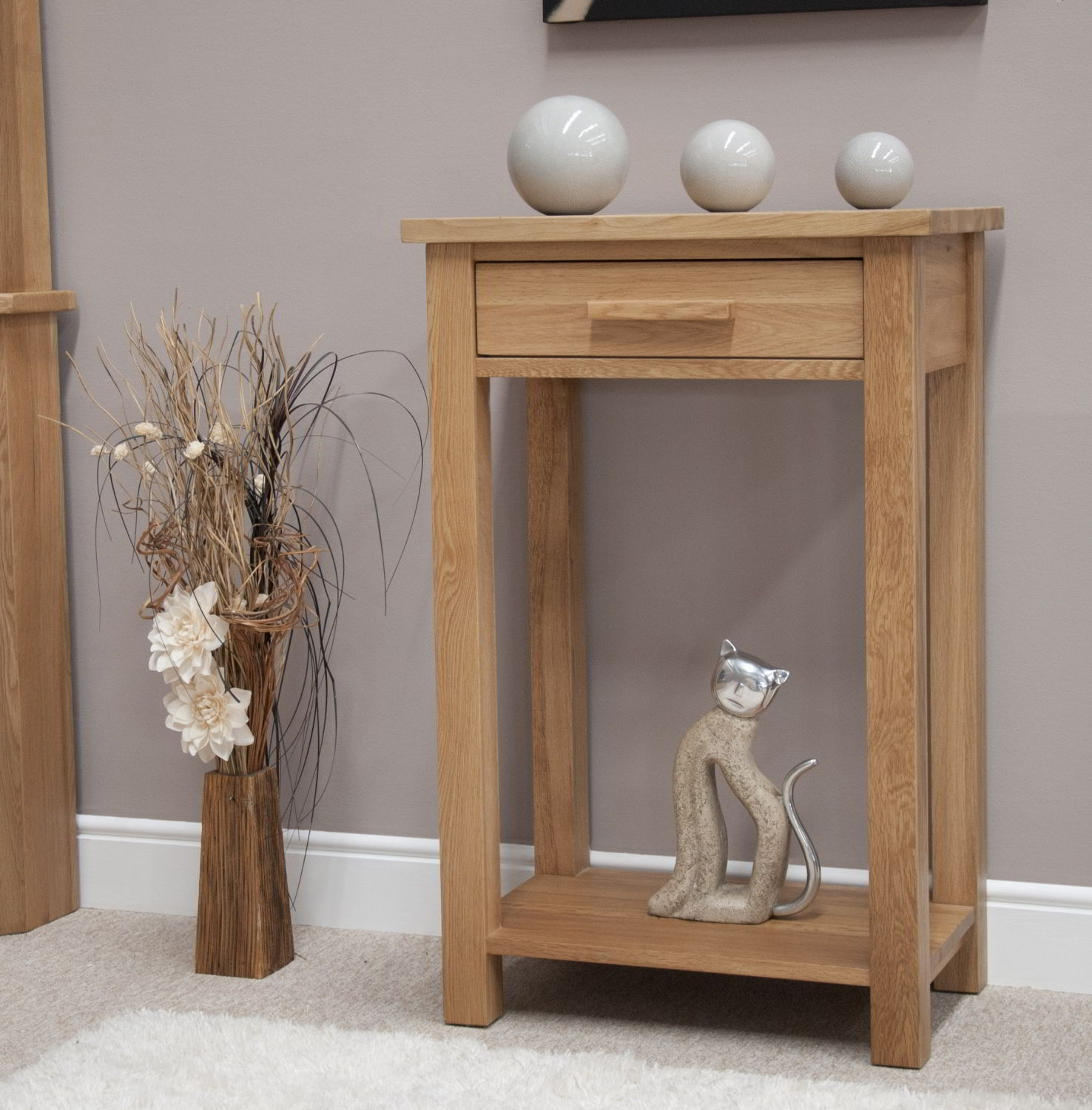 Eton Solid Oak Hallway Furniture Small Console Hall Table
