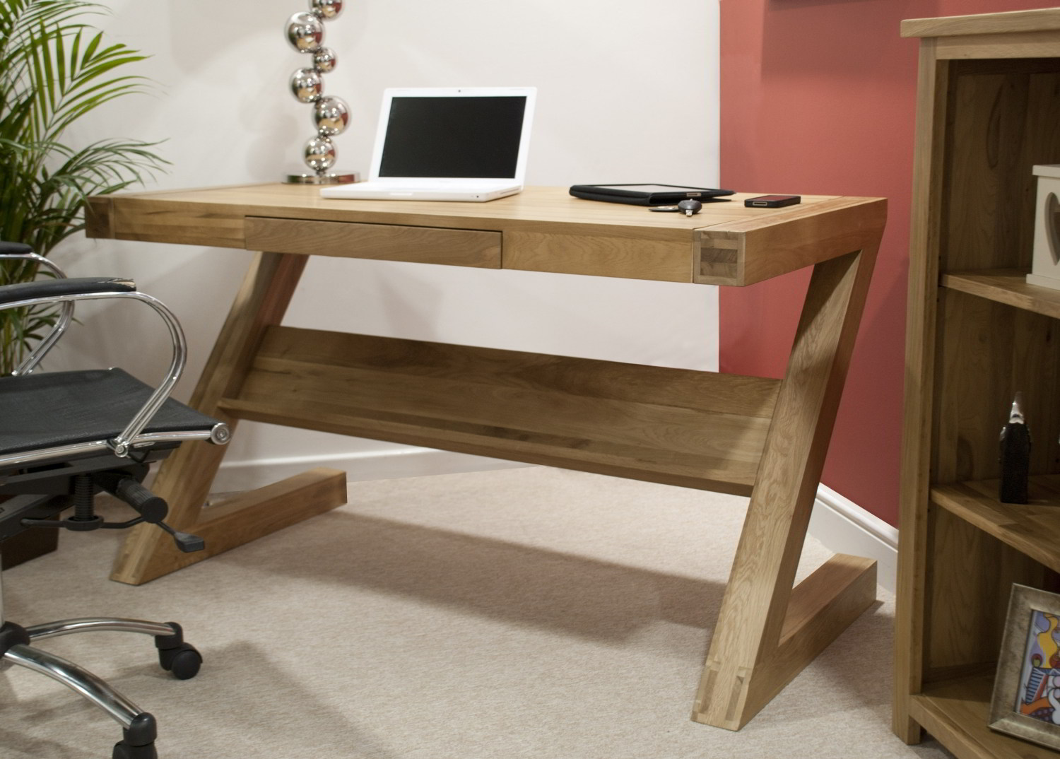 Eton Solid Oak Modern Furniture Laptop Office PC Computer Z Desk