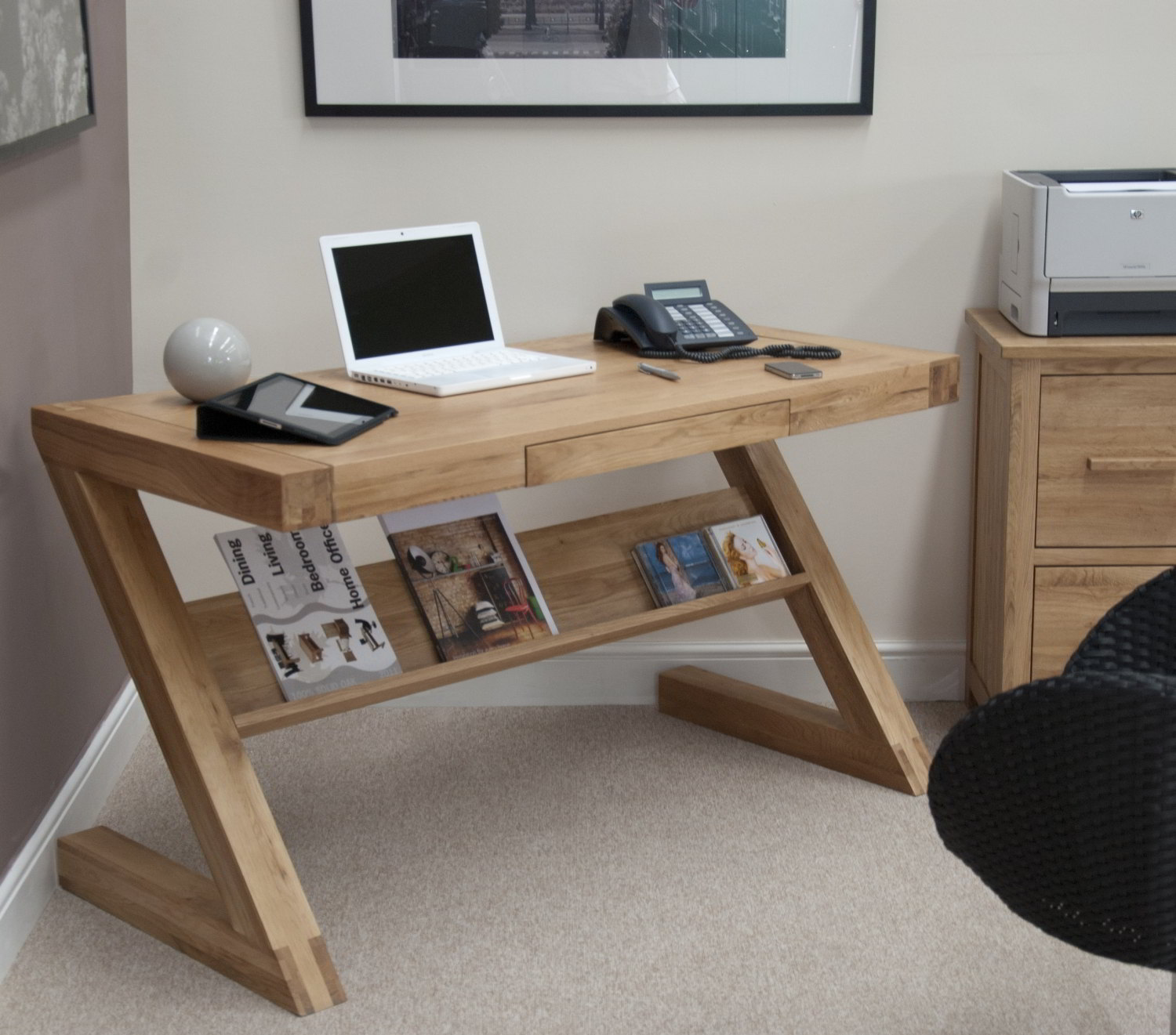 Eton Solid Oak Modern Furniture Laptop Office Pc Computer