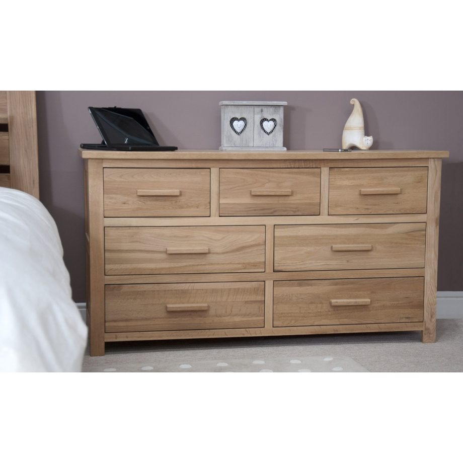 Modern Bedroom Chest Of Drawers Eton Solid Modern Oak Furniture Large Bedroom Wide Chest Of