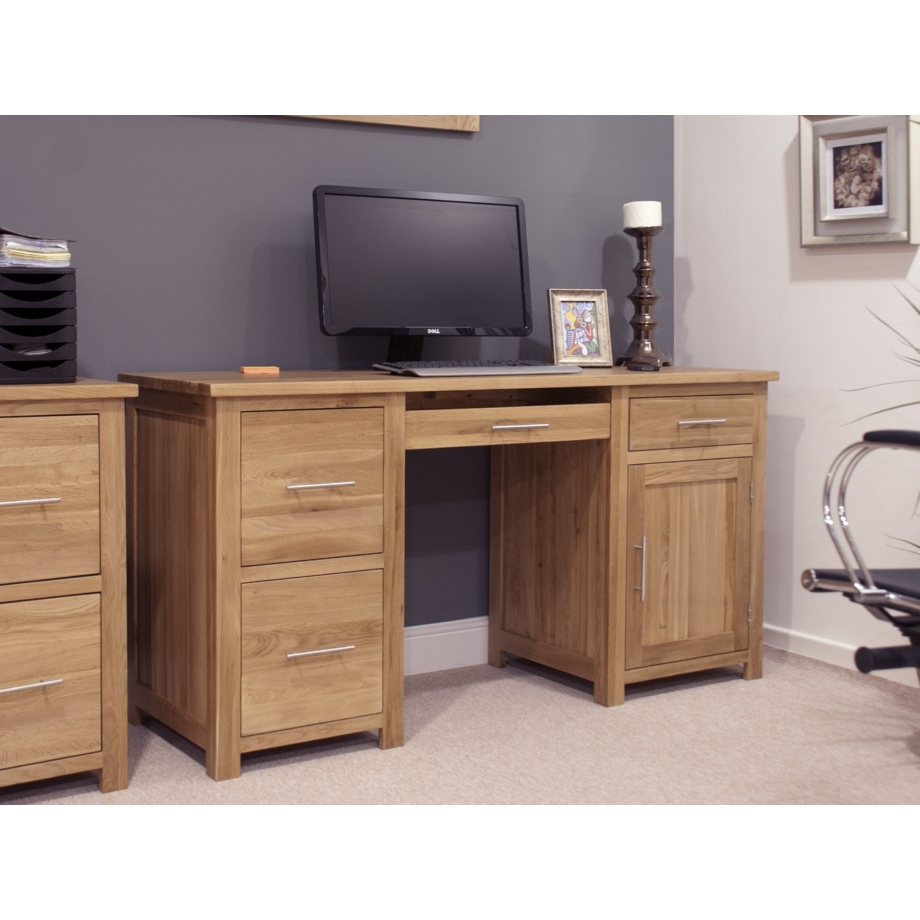 Eton Solid Oak Modern Furniture Large Office Pc Computer Desk Ebay