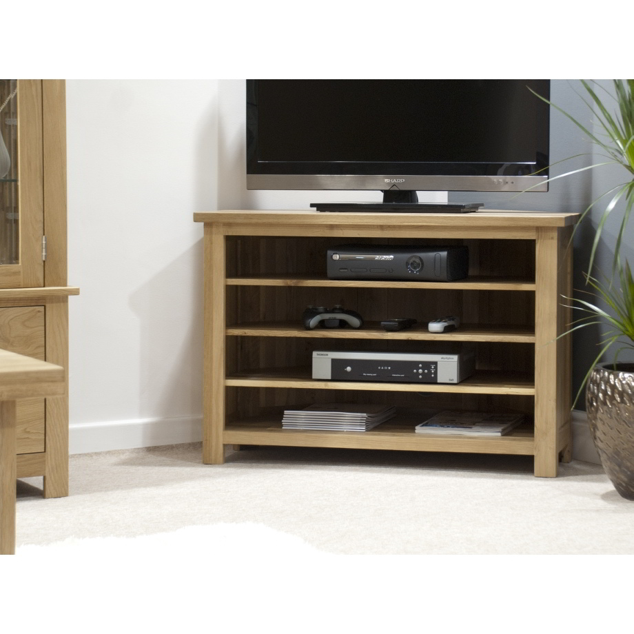 Eton solid oak living room furniture corner television cabinet stand ...