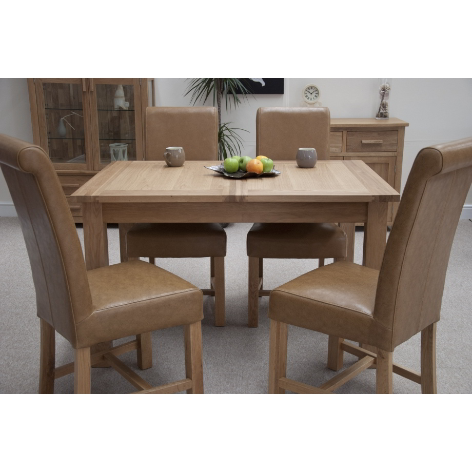 eton solid oak furniture extending dining table with four
