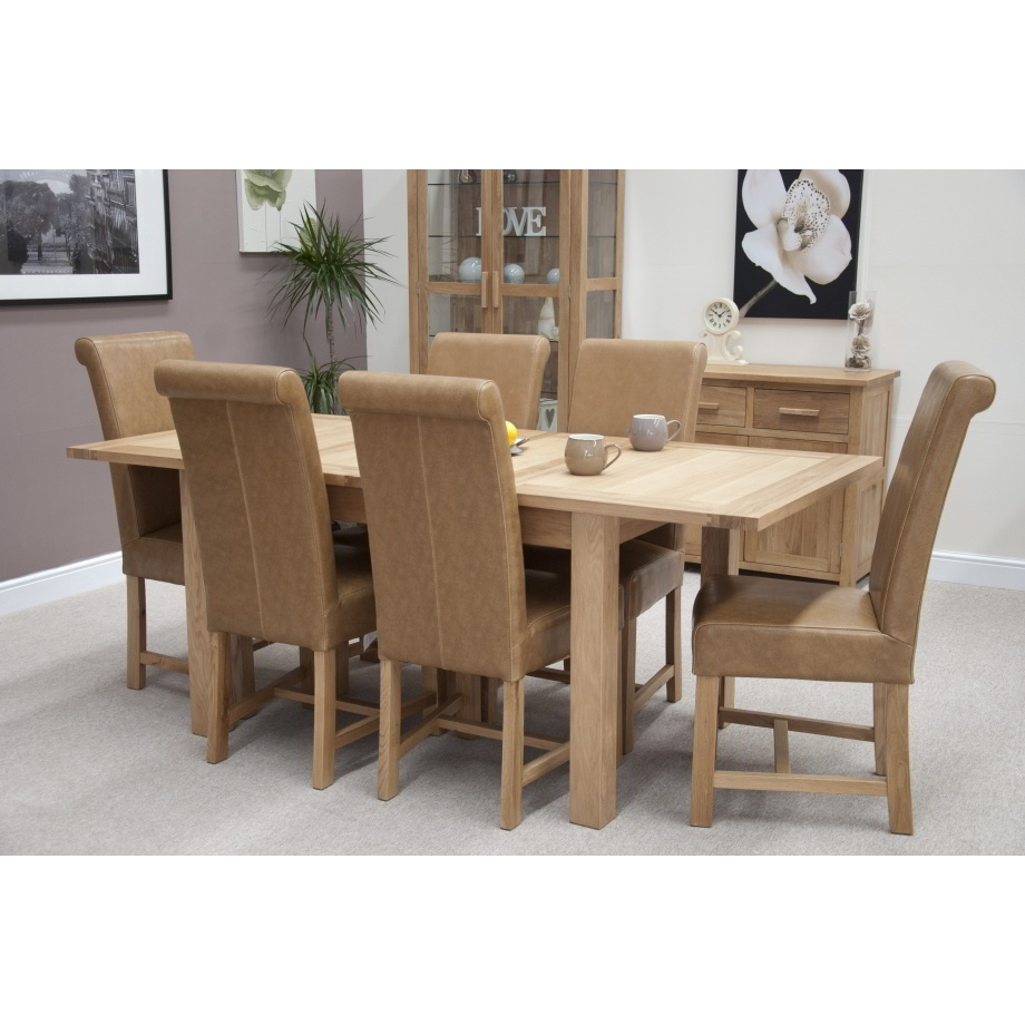 solid oak furniture extending dining table with six leather chairs set