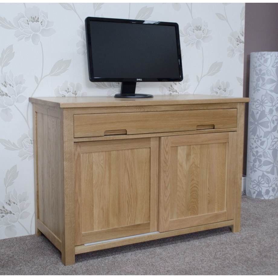 Eton Solid Oak Furniture Home Office Pc Hideaway Computer Desk Ebay