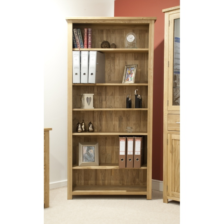 Eton solid oak modern furniture large living room office for Living room bookcases