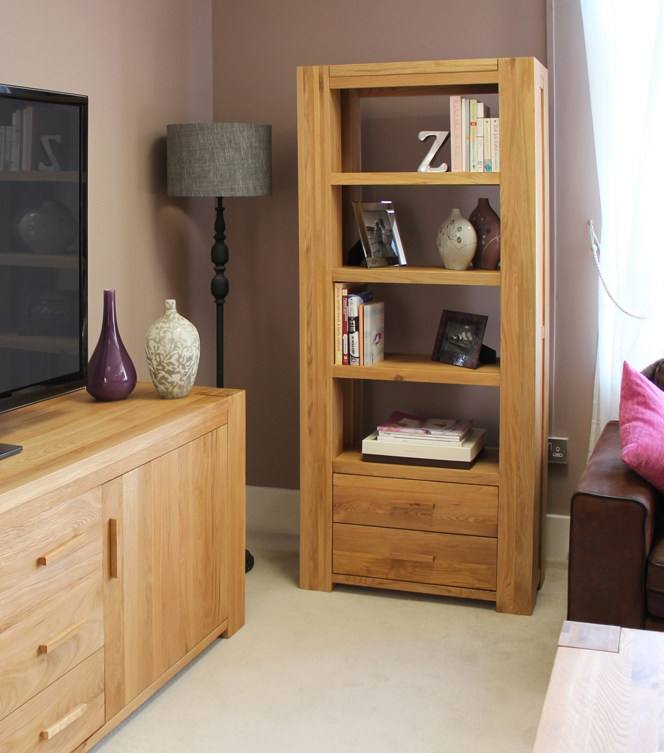 Palma Solid Chunky Oak Furniture Living Room Office Furniture Large Bookcase
