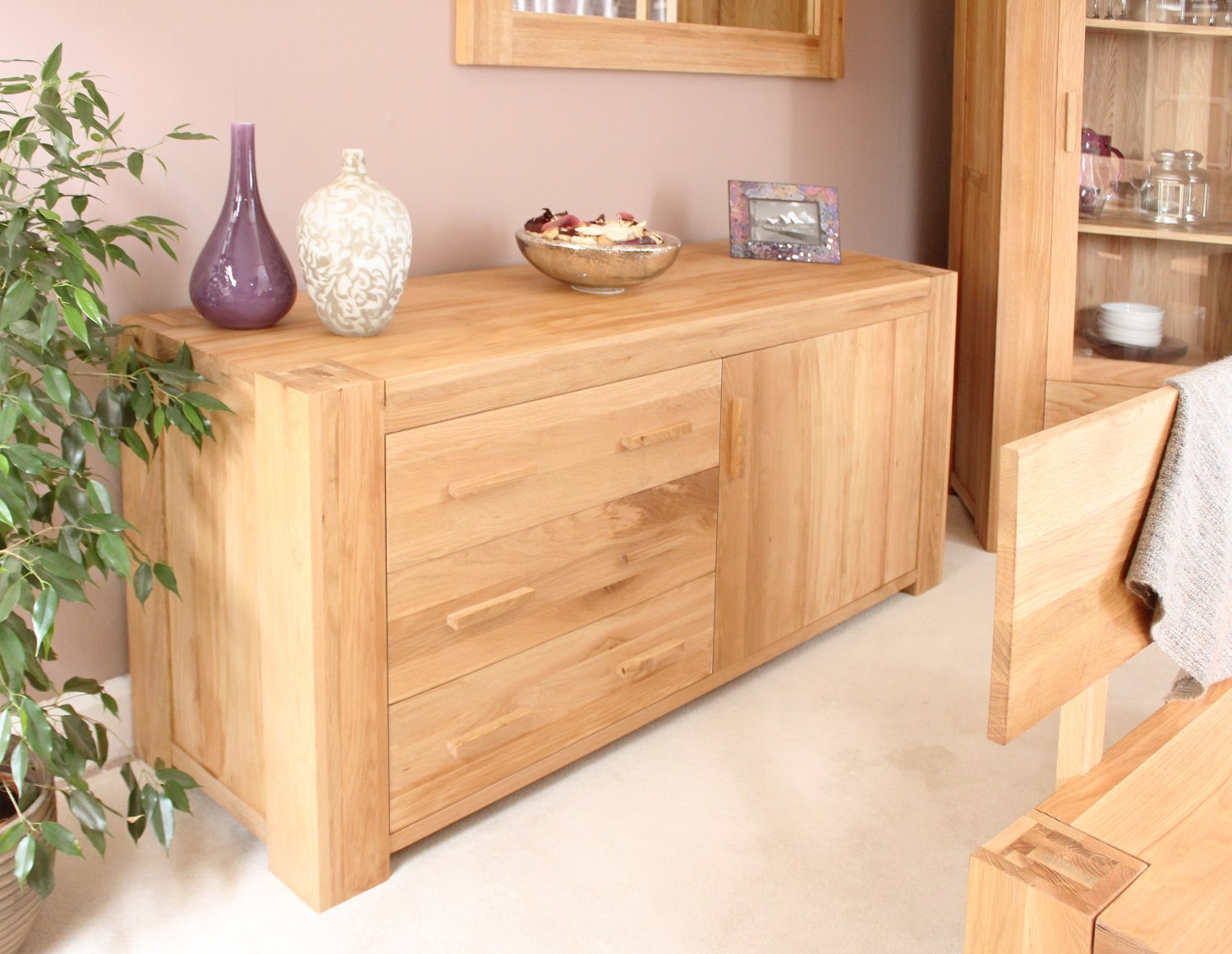 Palma Solid Chunky Oak Furniture Living Dining Room Storage Sideboard