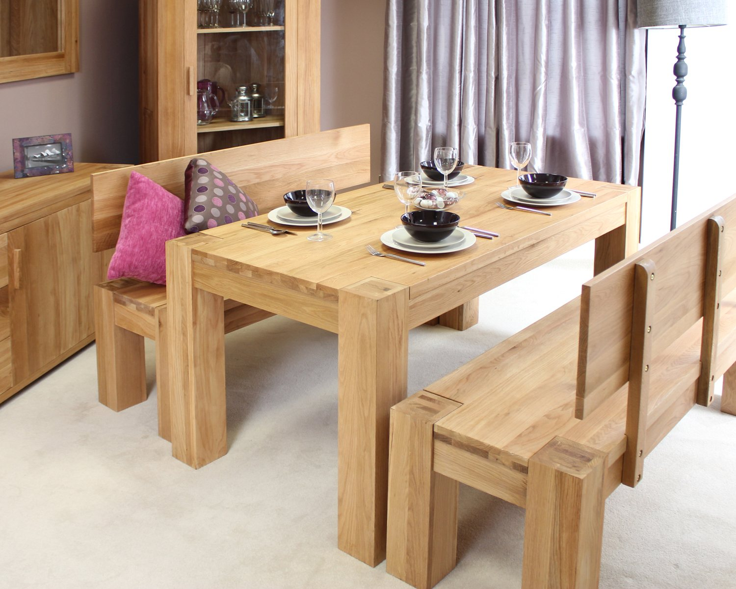 Solid Chunky Oak Dining Room Furniture Dining Table And Benches Set. Full resolution‎  photograph, nominally Width 1500 Height 1200 pixels, photograph with #986B33.
