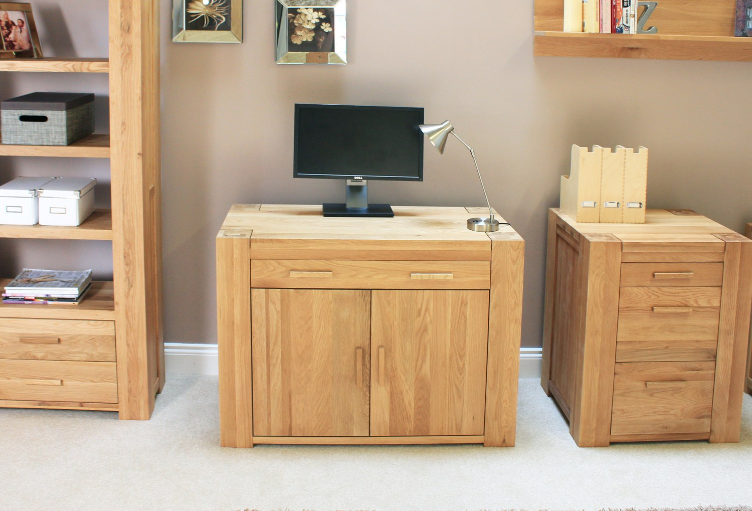 Palma solid chunky oak furniture hidden home office pc for Hideaway home office