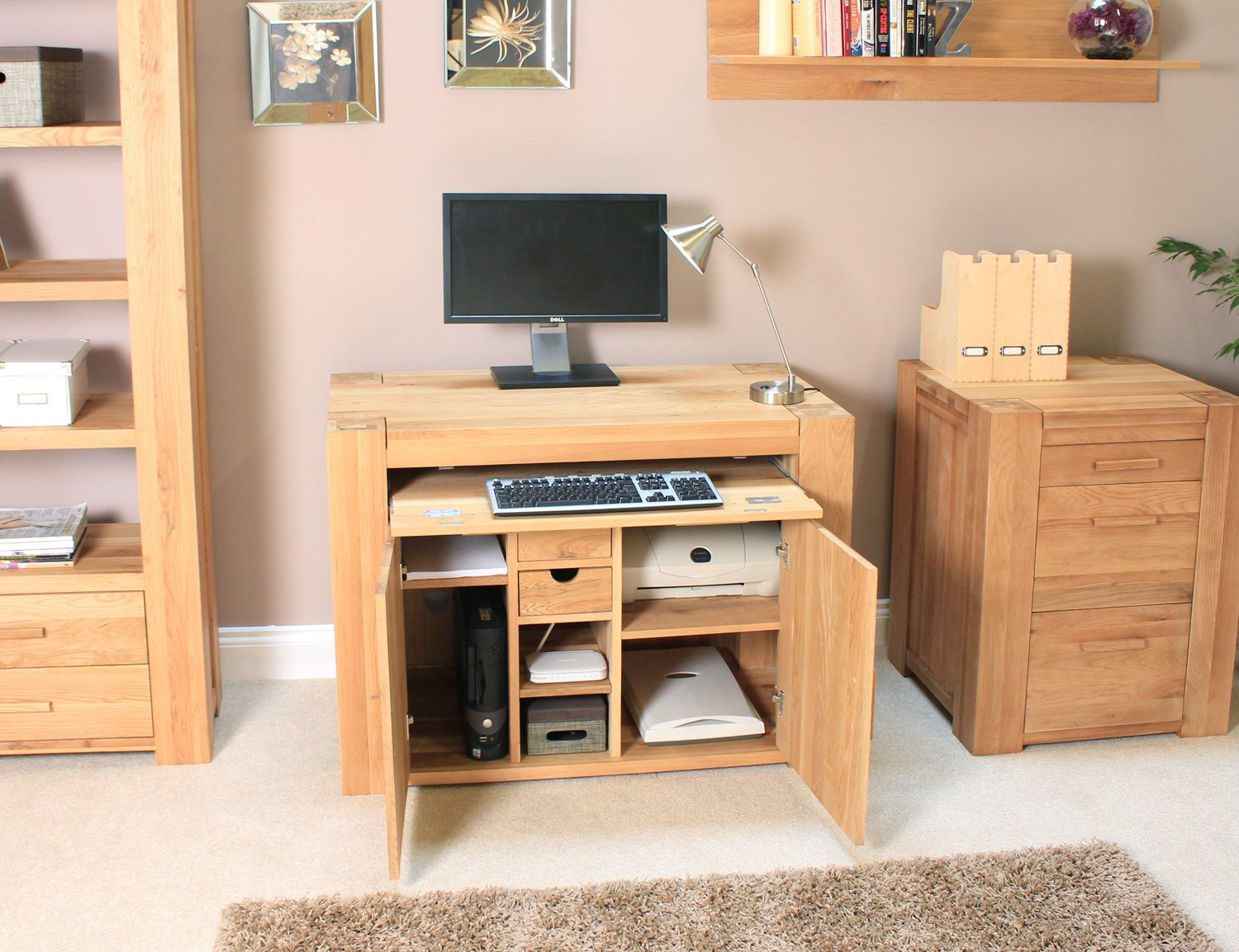 Palma Solid Chunky Oak Furniture Hidden Home Office PC