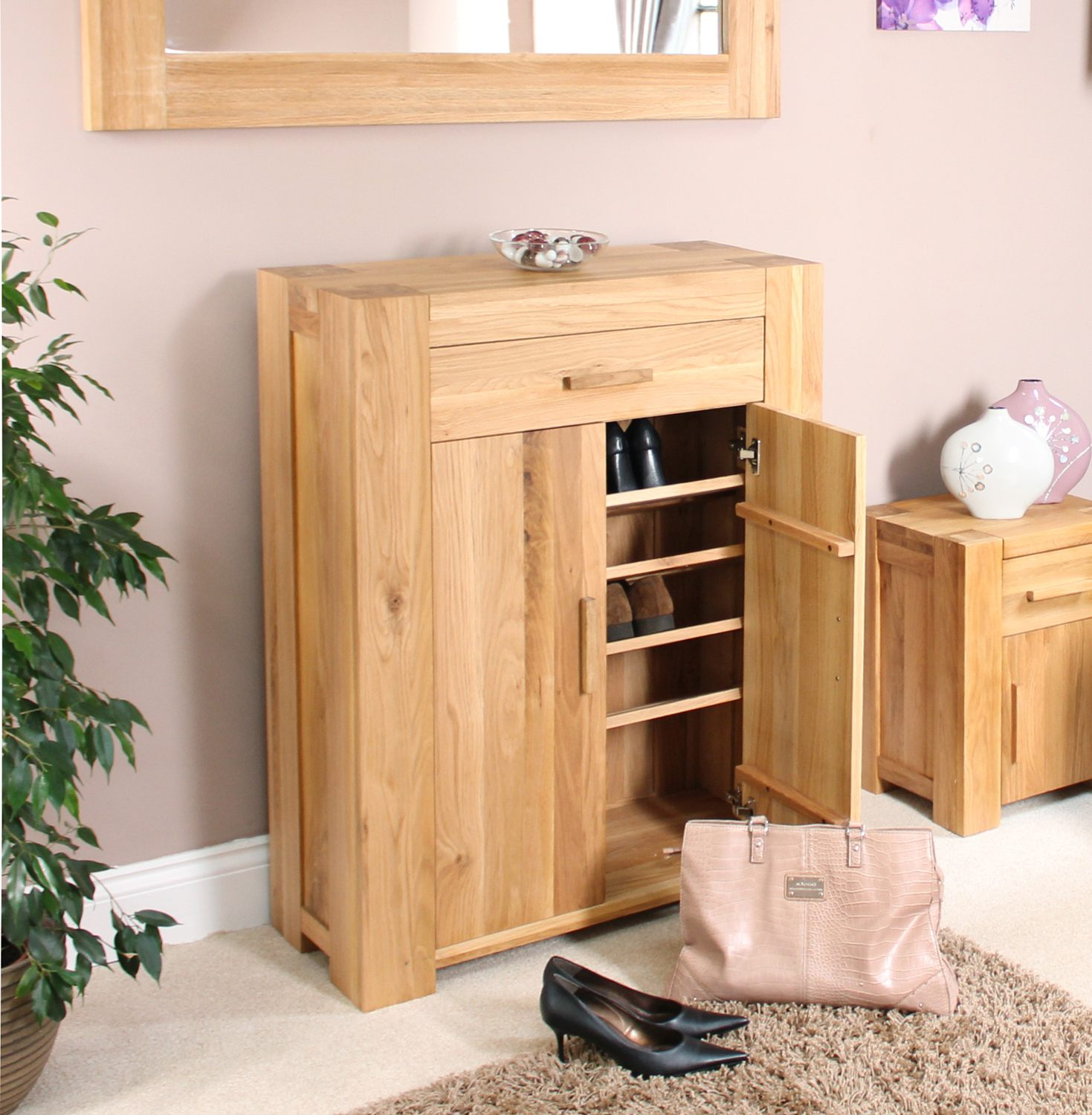 Palma solid chunky oak hallway furniture shoe storage for Cupboard cabinet