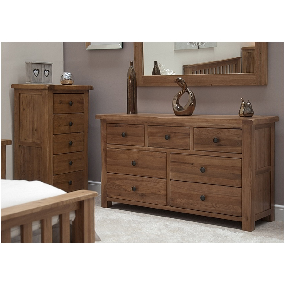 Solid Rustic Oak Bedroom Furniture Large Wide Chest Of Drawers EBay
