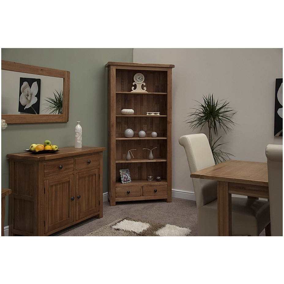 Tilson Solid Rustic Oak Living Room Office Furniture Large Bookcase