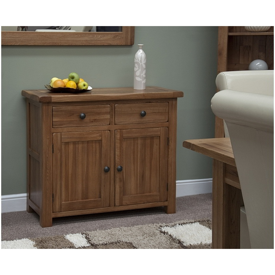 Tilson solid rustic oak living dining room furniture small storage sideboard ebay - Small dining room storage ...