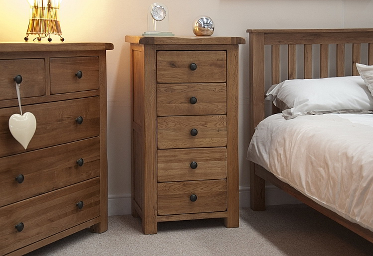Tilson solid rustic oak bedroom furniture narrow for Bedroom furniture chest of drawers