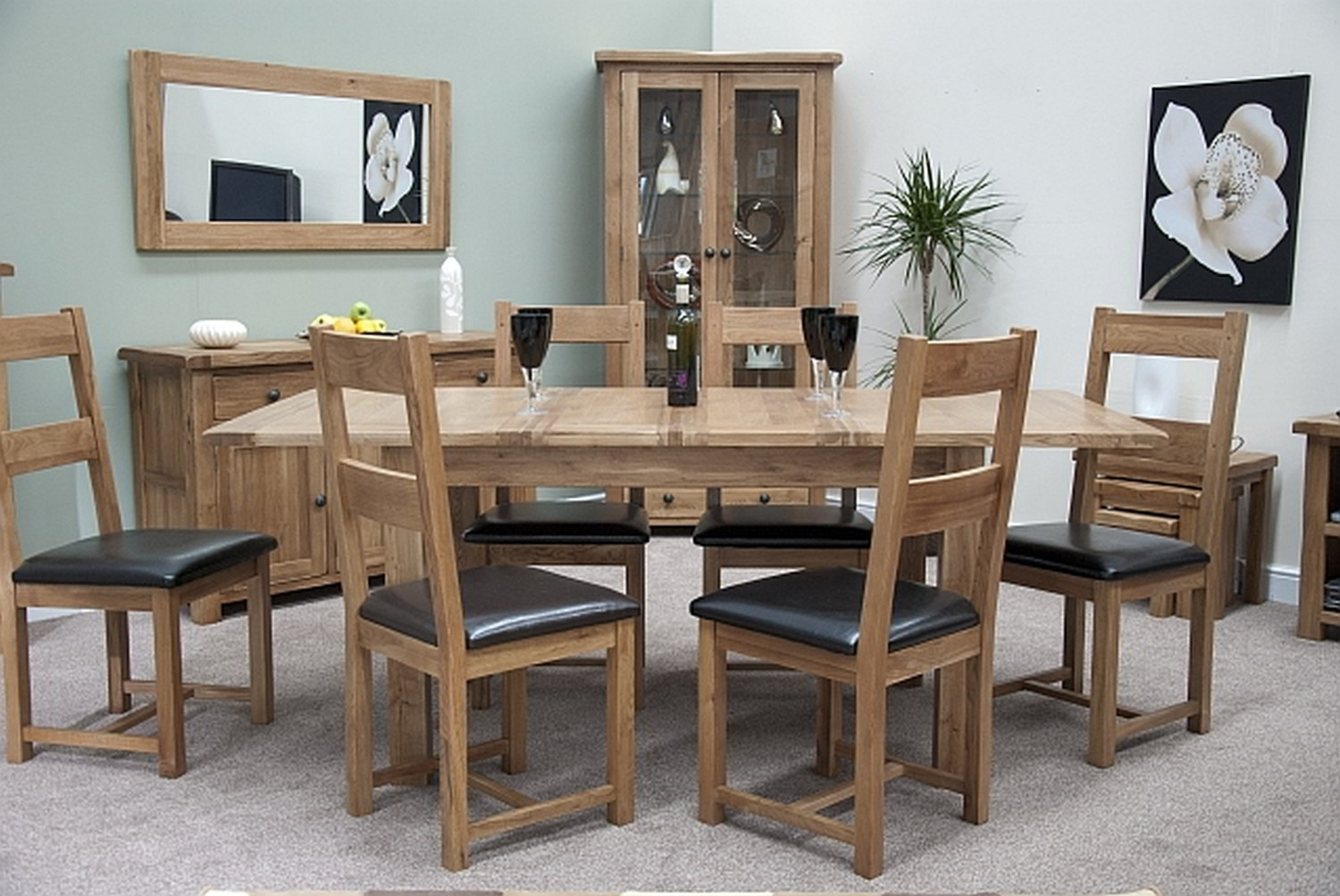 tilson solid oak furniture extending dining table and six