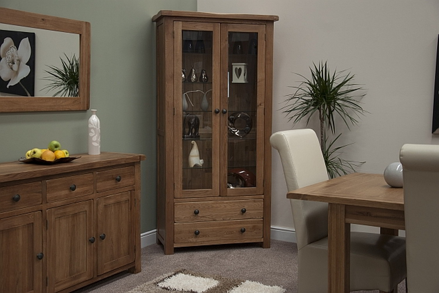 rustic oak living room furniture glass display cabinet unit ebay