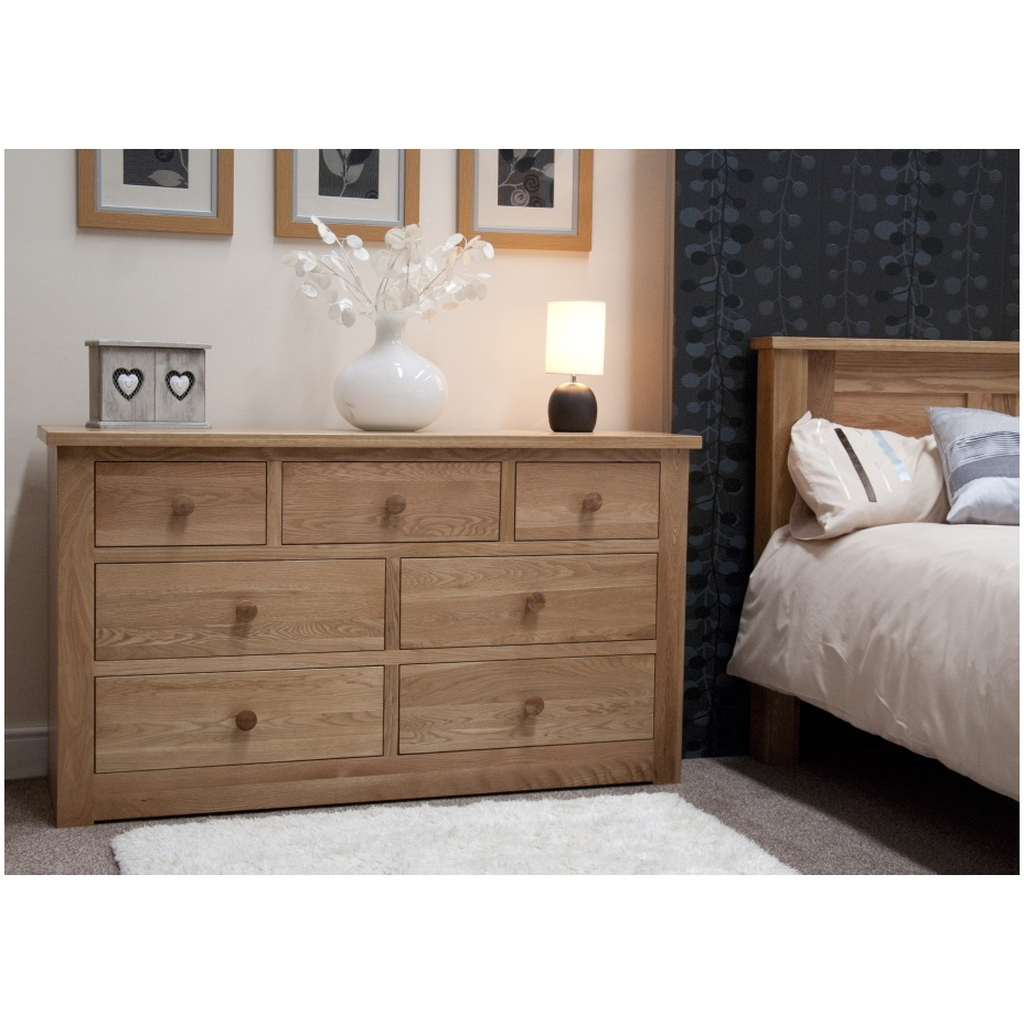 Kingston solid modern oak bedroom furniture large chest of - Contemporary bedroom chest of drawers ...