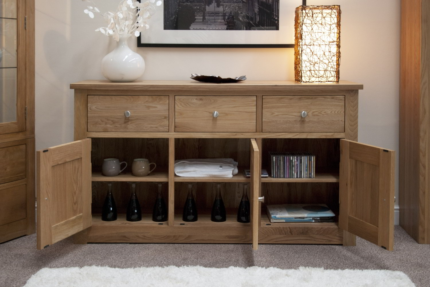 solid oak living dining room furniture large storage sideboard ebay