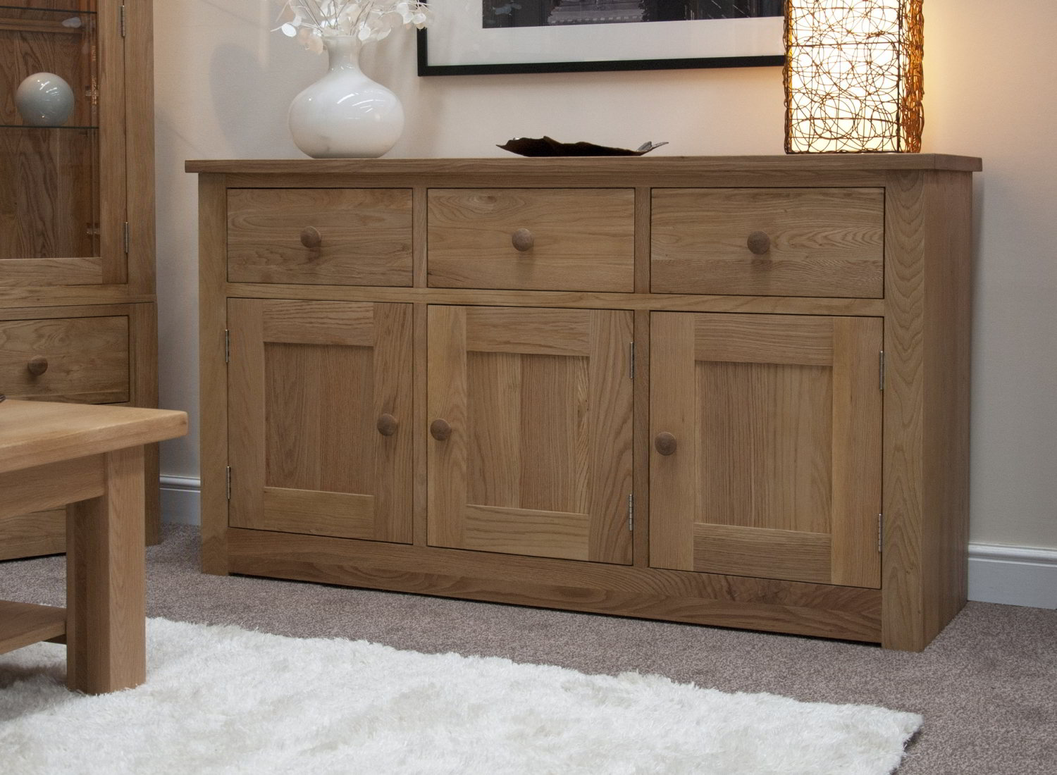 Kingston Solid Oak Living Dining Room Furniture Large Storage Sideboard EBay