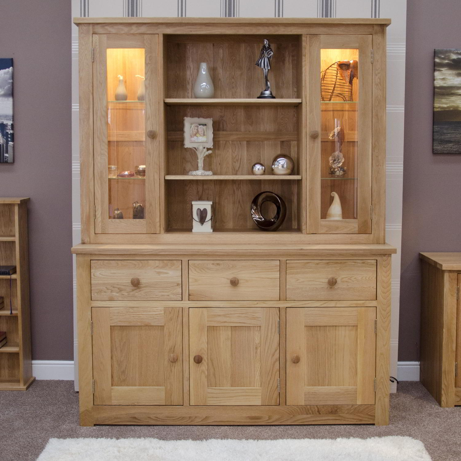 Kingston solid modern oak furniture large dresser display for Solid oak furniture