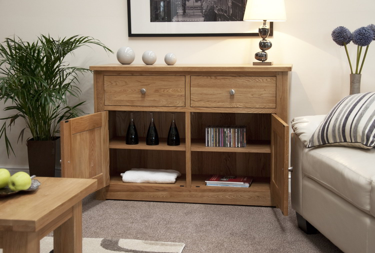 solid oak living dining room furniture storage sideboard ebay