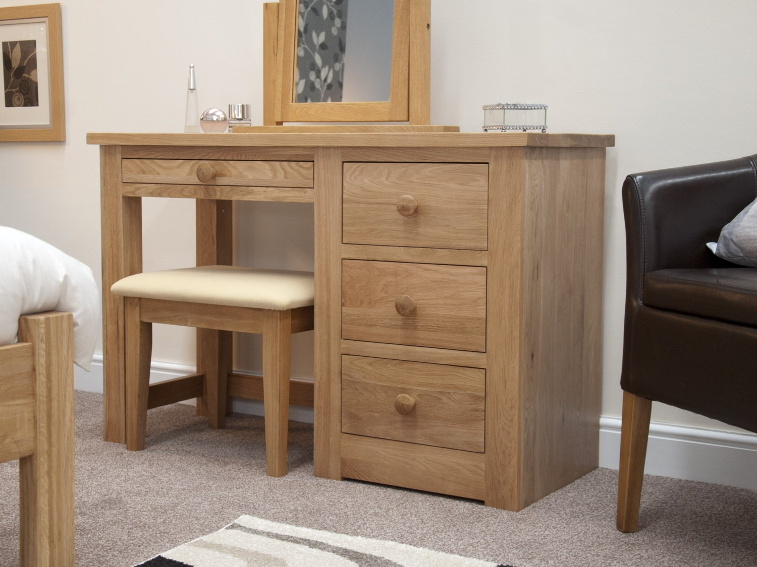 Kingston Solid Modern Oak Bedroom Furniture Dressing Table With Stool Ebay