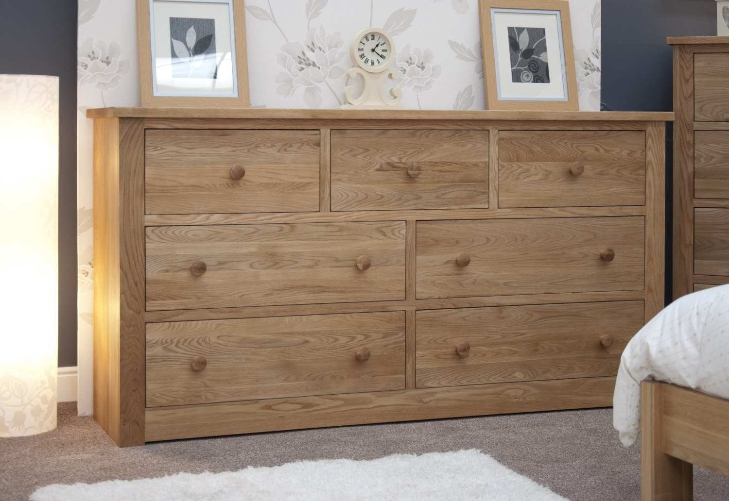 Kingston solid modern oak bedroom furniture deep wide for Bedroom furniture chest of drawers