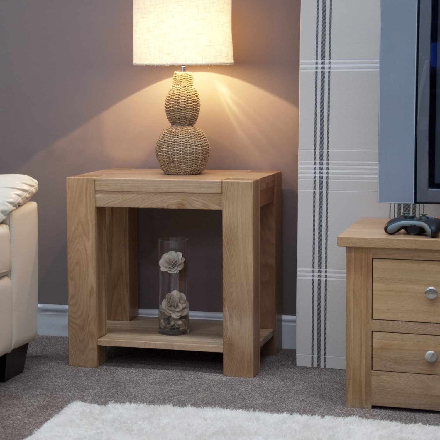 Pemberton solid chunky oak living room furniture lamp sofa for Living room end table lamps
