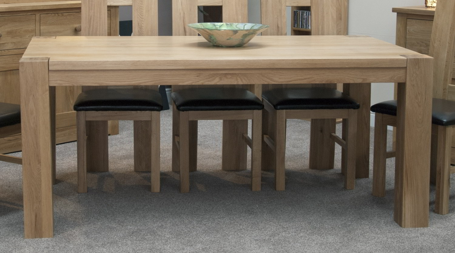 ... solid oak dining room furniture large chunky dining table  eBay