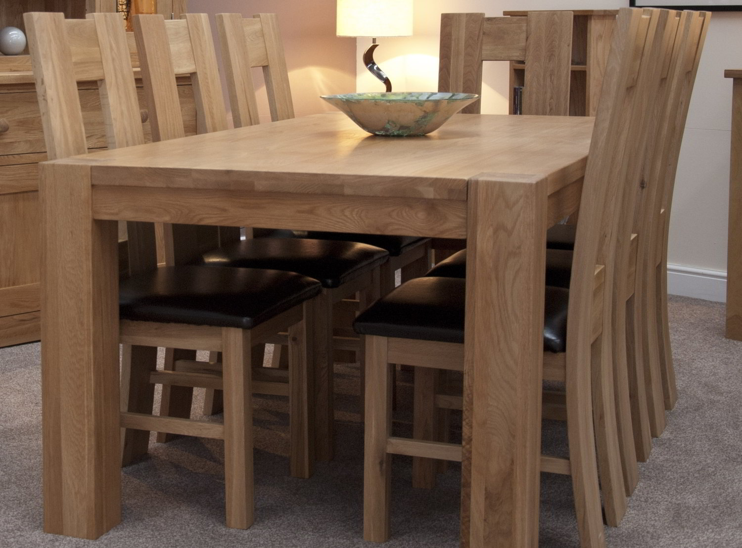 Solid Oak Dining Room Furniture Large Chunky Dining Table Part 90