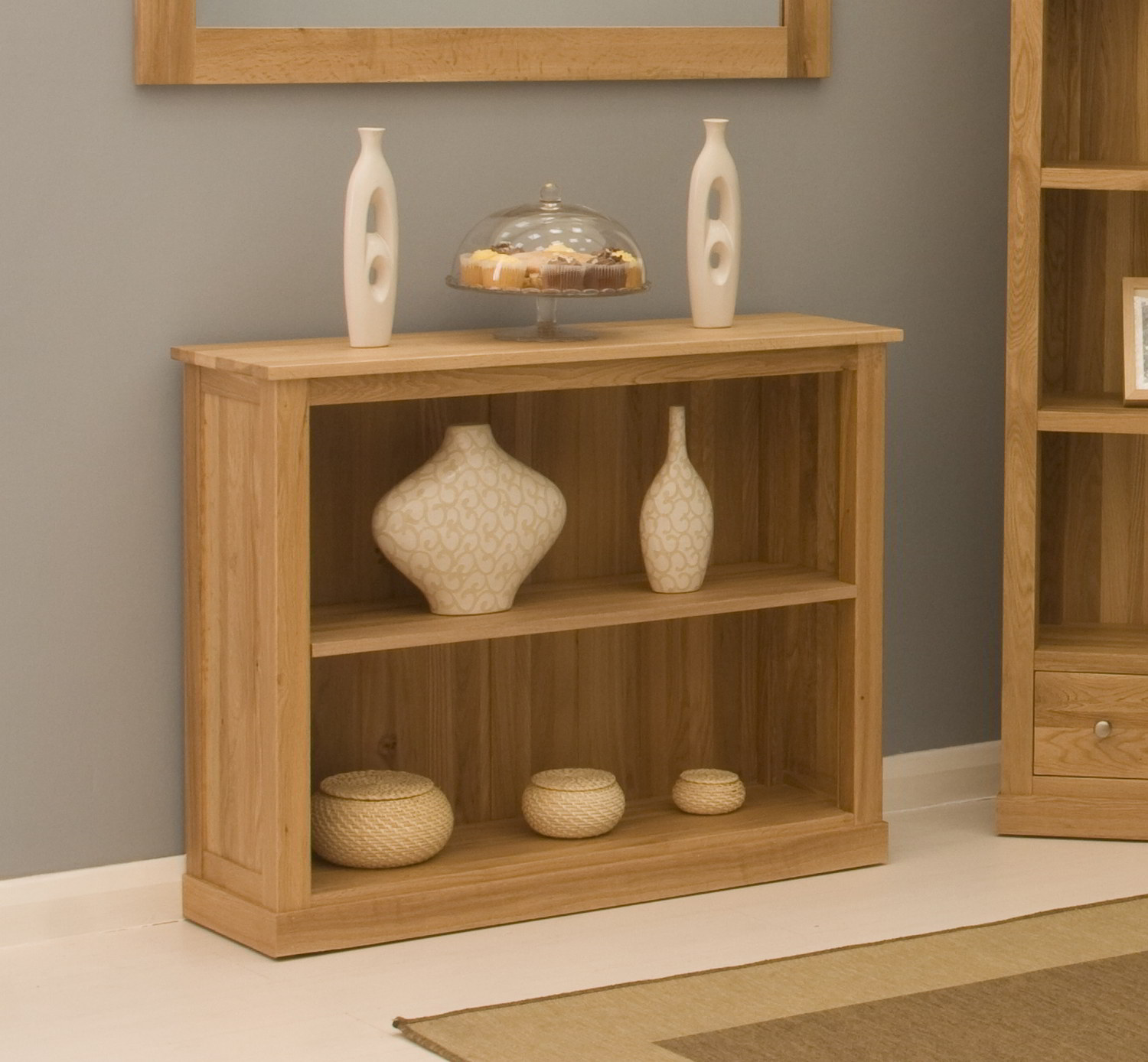 Conran Solid Oak Contemporary Furniture Low Office Living Room Bookcase
