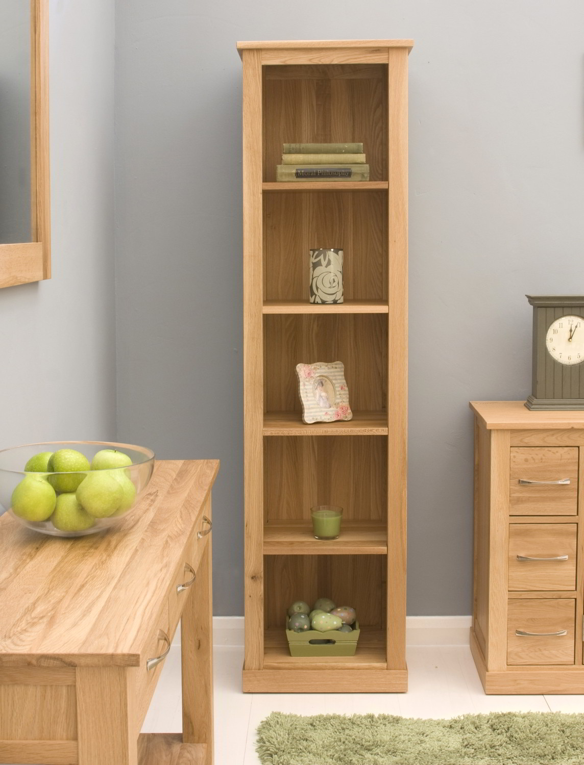 Conran Solid Oak Modern Furniture Narrow Living Room Office Bookcase