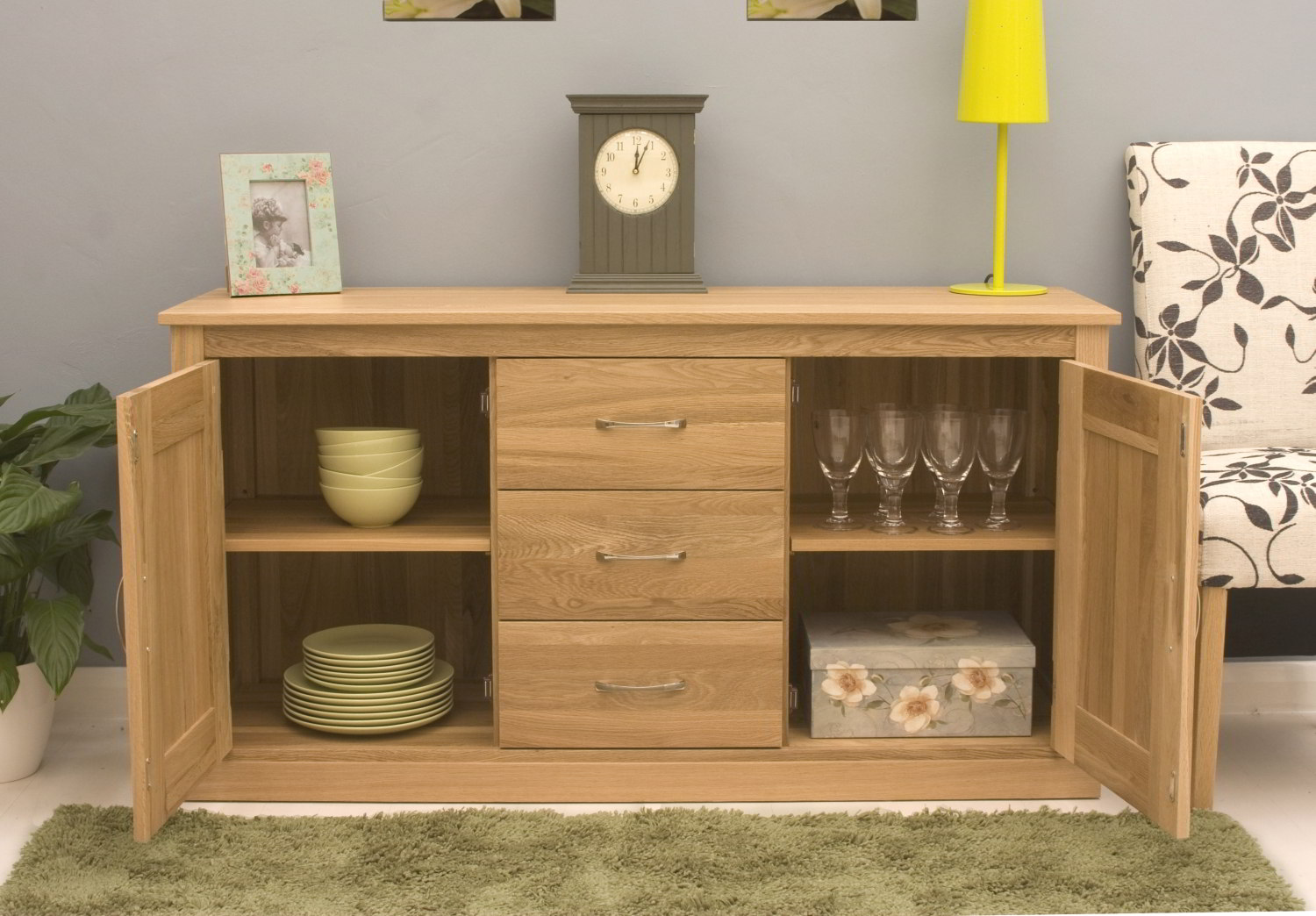 oak contemporary furniture large living dining room sideboard ebay