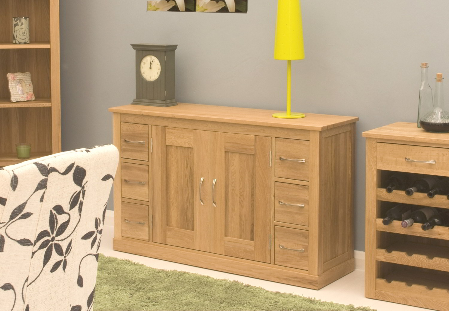 Oak Modern Furniture Six Drawer Living Dining Room Sideboard EBay. Full resolution  portraiture, nominally Width 1500 Height 1041 pixels, portraiture with #BCAC0F.