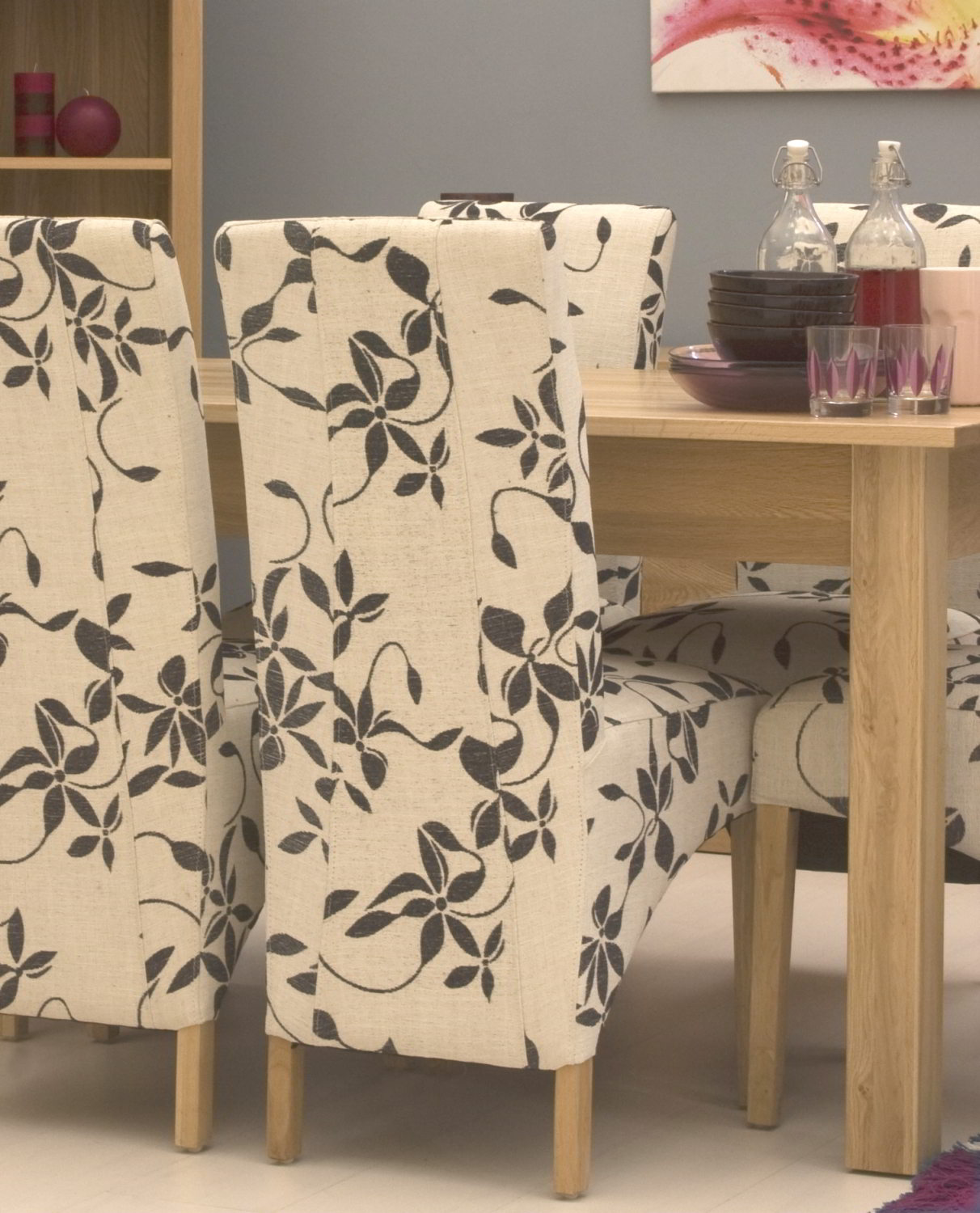 Conran solid oak contemporary furniture set of four floral fabric – Floral Dining Chairs