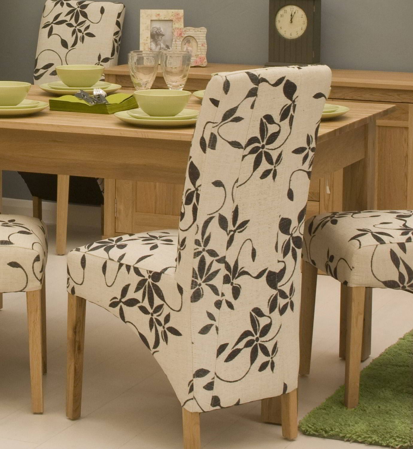 Conran Solid Oak Contemporary Furniture Set Of Two Floral Fabric Dining Chair