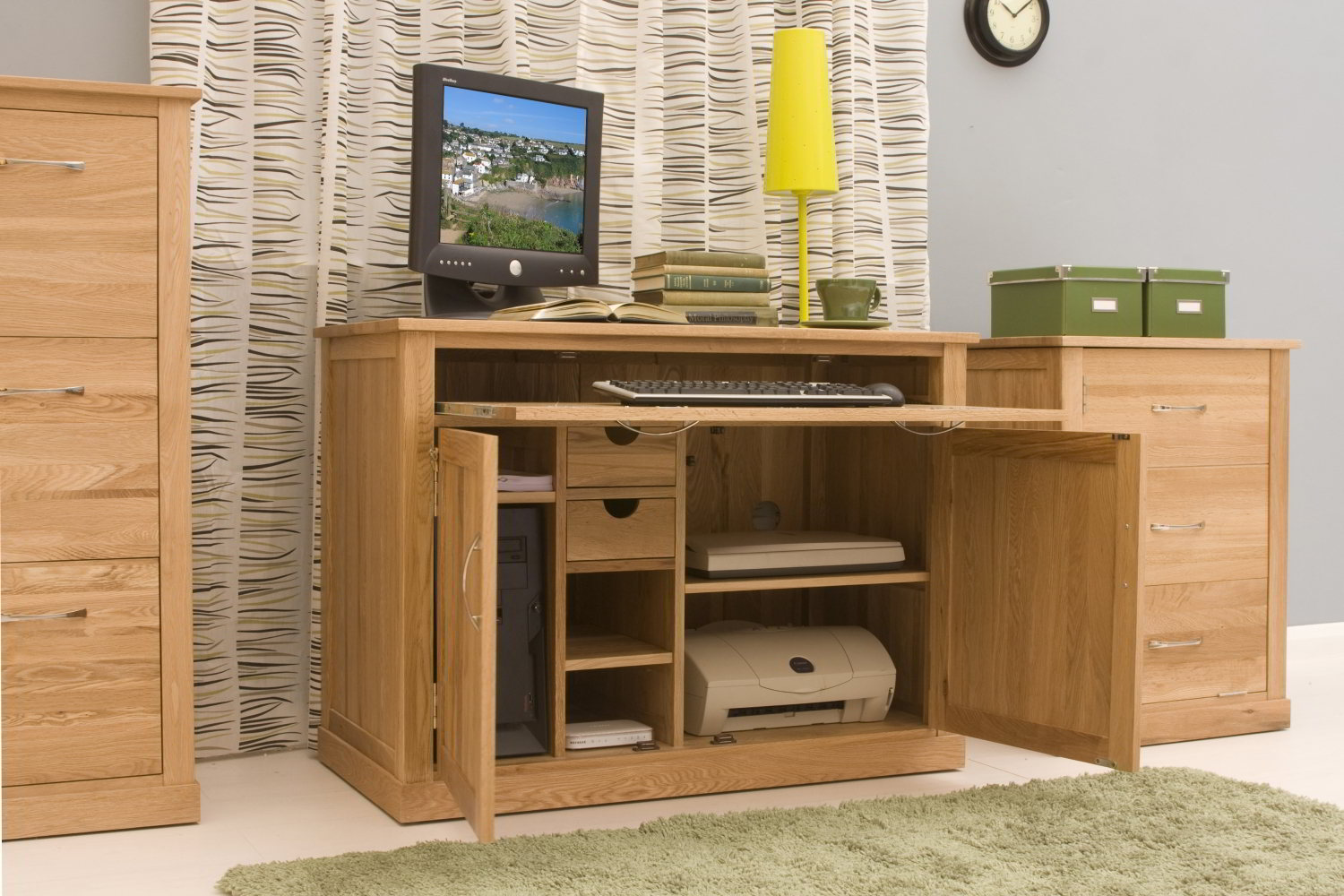 Perfect Conran Solid Oak Modern Furniture Hidden Home Office Hideaway Computer PC  Desk