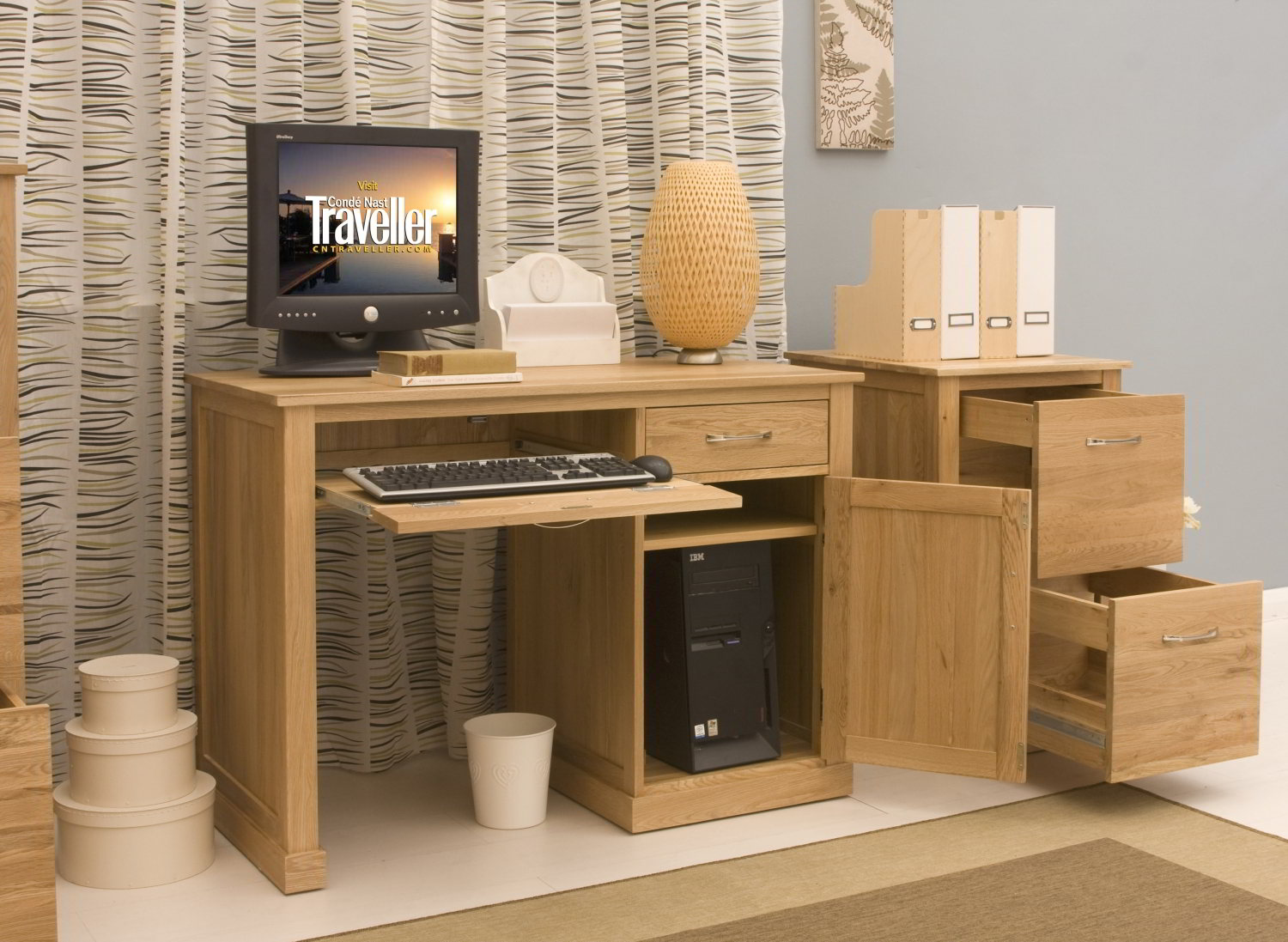 Conran Solid Oak Modern Furniture Small Single Pedestal Office PC Computer  Desk