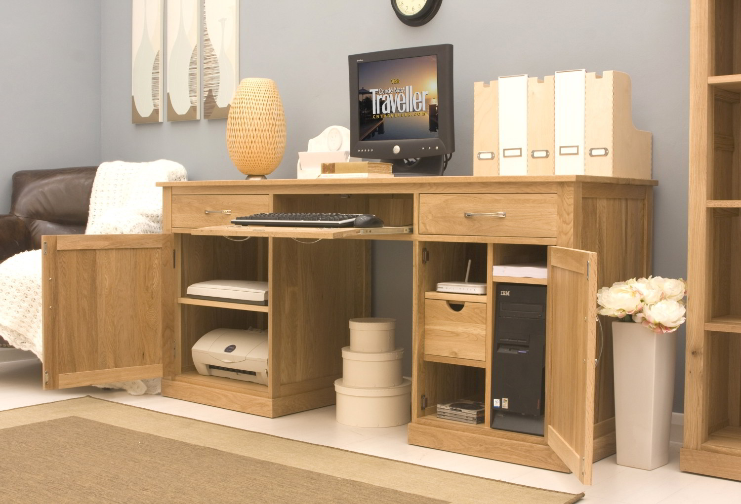 Conran solid oak modern furniture large hidden home office PC computer desk : eBay