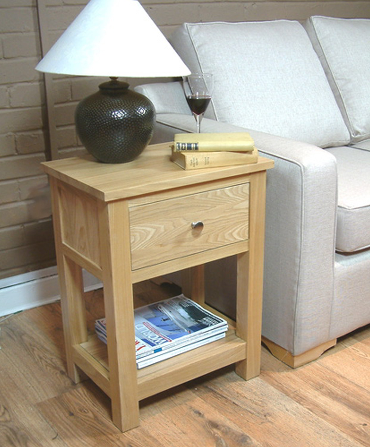 conran solid oak living room furniture side end lamp table